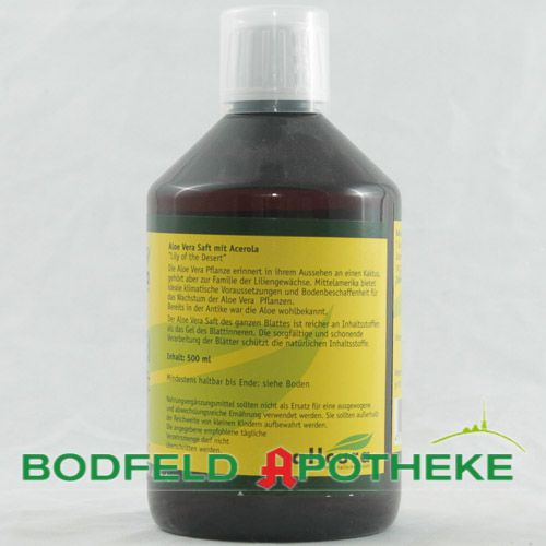 aloe vera saft ganzblatt 500ml bodfeld apotheke. Black Bedroom Furniture Sets. Home Design Ideas